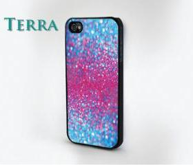iphone 5 case - - glitter - Sparkle & Pink and Blue Effect Glitter iPhone case-- iPhone 4, iPhone 4s