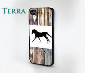 Horse Wood Grain Print - iphone 5 cases Cool iPhone Cases- Cool iPhone Cases-- iPhone 4, iPhone 4s- Rubber Case